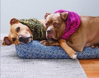 Indigo Waterproof Dog Bed As seen in Washingtonian Magazine. Large Washable Pet Bed.  Navy Modern Dog Bed. Huge Designer Dog Bed.