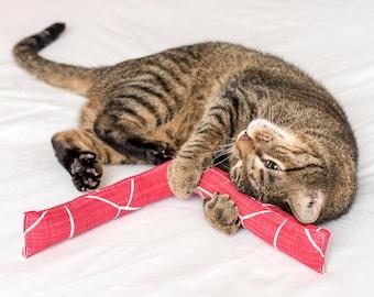"Huge Catnip Kicker Toy 18"" Cat Toy Cigar Red Catnip Log Stick Extra Long Cat Kicker Stick Cat Gift Organic Catnip Leaf No Stem Made in USA"