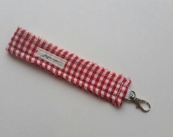 Red & White Gingham Wristlet Key FOB / Key Chain