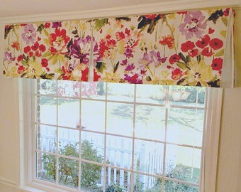 Custom Box Pleat Valance with Contrast Fabric inside the Pleats Use Your Fabric