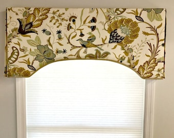 Custom Made to Order Arch Top Box Pleat Valance Contrast Fabric Edge Using Your Fabric