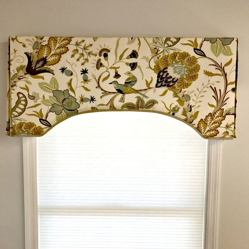 Custom Made to Order Arch Top Box Pleat Valance Contrast image 0