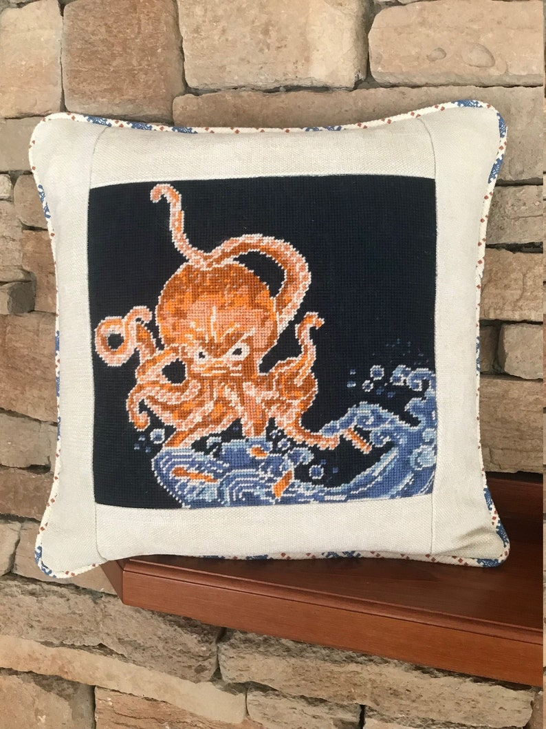 Custom Needlepoint Embroidery Cross Stitch Finishing Pillow image 0