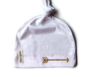dfcb40efc8d White Newborn Hat  Baby Girl Hat  Organic Cotton Hat  Baby Knotted Hat  Knotted  Cap  Organic Cotton Baby Hat  Newborn Infant Hat  Gold arrow