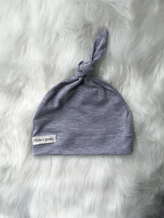 Gray Newborn Hat  Baby Hat  Organic Cotton Hat  Baby Knotted  e9155ae729c