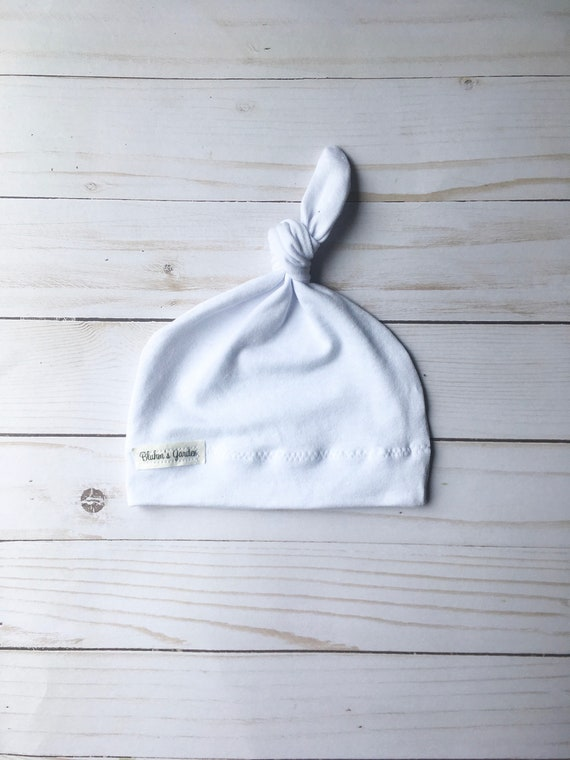 e866e5dbca9 White Newborn Hat  Baby Hat Organic Cotton Hat  Baby Knotted