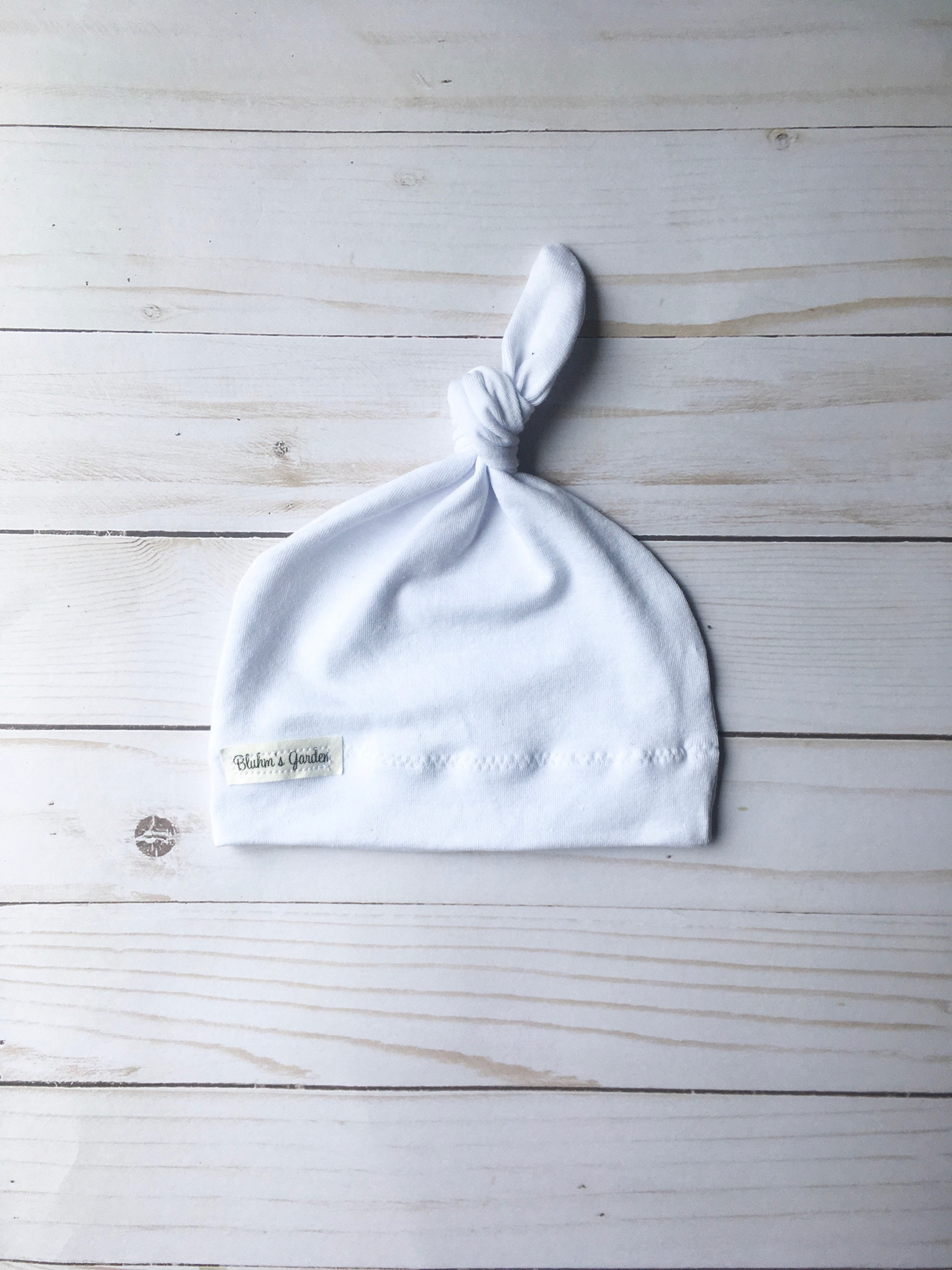 White Newborn Hat  Baby Hat Organic Cotton Hat  Baby Knotted  d1c76267030