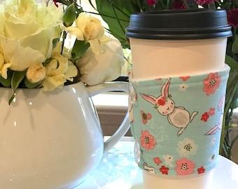 Spring Bunnies Handmade Coffee Cozy Sleeve