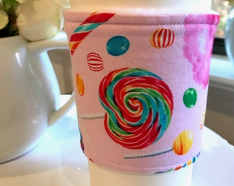 Pink Sweets Candy Handmade Coffee Cozy Sleeve