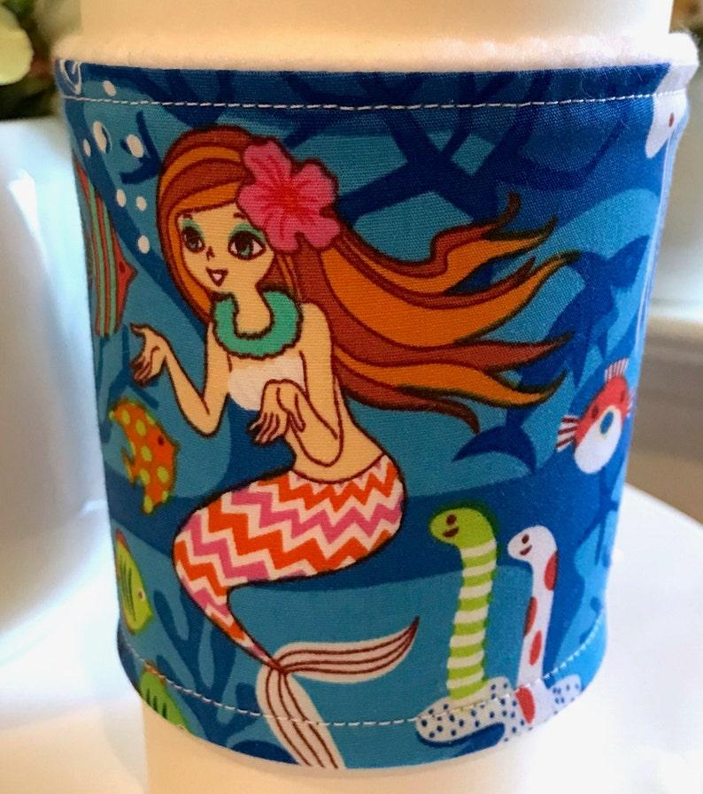 Colorful Mermaid Underwater Ocean Handmade Coffee Cozy Sleeve CLEARANCE