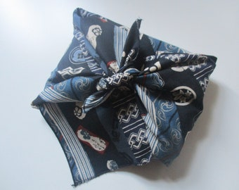 Furoshiki en tissu Japonais bandes bleues 50 cm x 50 cm pour emballage cadeau