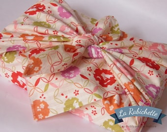 Furoshiki en tissu Japonais lapins shippo blanc 50 cm x 50 cm pour emballage cadeau