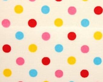 Polka dot fabric on white background - 50 cm