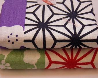 2 coupons  50x55 cm tissu japonais motifs traditionnels en bandes