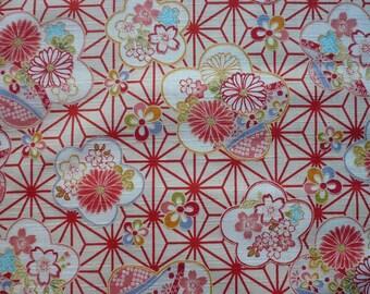 Japanese fabric geometric asanoha and large flowers of cherry bottom cream-110 * 50 cm