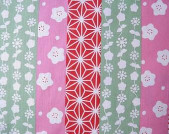 Tissus à bandes verticales motifs japonais ,rouge, rose - 50 cm