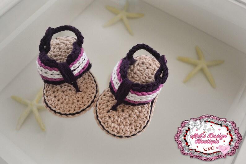 d4e10f67433e3 flip flops - baby girls sandals - crochet baby shoes - crochet sandals -  baby shower gift - ready to ship - purple - baby shoes