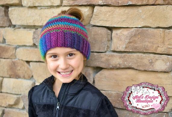 7363c69f8 Messy bun hat ponytail hat girls womens crochet bun hat crochet ponytail  hat ponytail beanie messy bun beanie gift multi color beanie