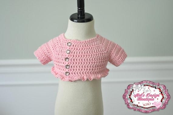 2ec4dbff7 Pink sweater baby shrug crochet sweater cropped sweater