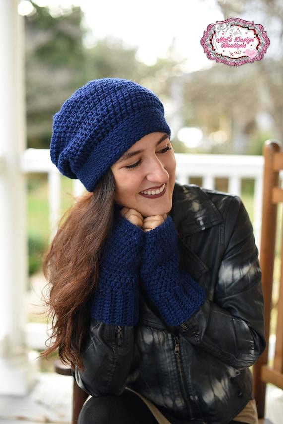 Crochet women s winter hat and glove set ladies navy  b26b2778c79