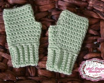 Girls gloves girls fingerless gloves, kids crochet gloves, fingerless gloves, crochet gloves, mint gloves, ready to ship, mint , fingerless