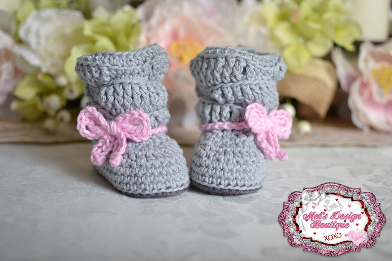 ffd4609b00ab0 baby boots- crochet boots - baby girl booties - baby shower gift - 0 3  month - slouch boots - baby shoes - gray - pink - crochet baby boots