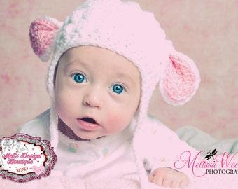 Baby lamb hat - crochet lamb hat - crochet bonnet - baby girls - lamb hat - earflap hat - easter hat - baby hat - crochet hat - spring hat