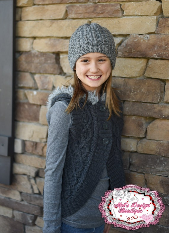 malia beanie crochet hat girls grey crochet beanie  e6b5015a7fa