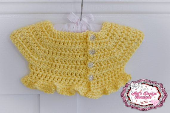 Yellow Baby Sweater Baby Shrug Crochet Sweater Short Etsy