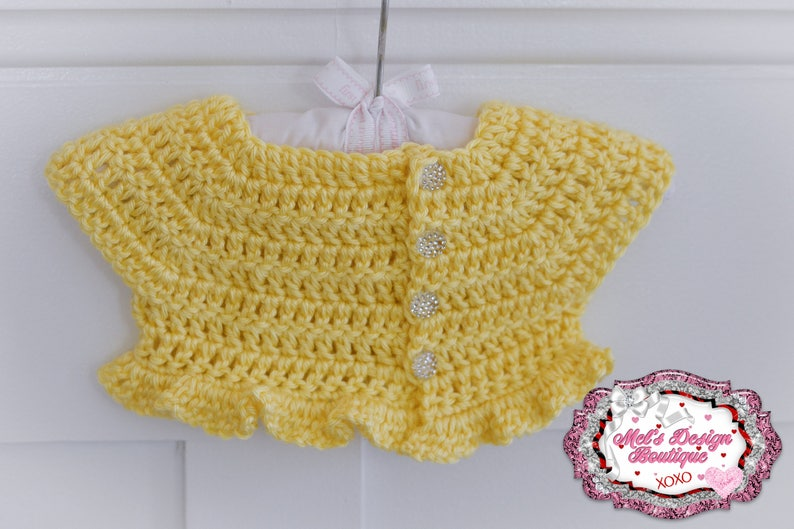 37f7bca4a Yellow baby sweater baby shrug crochet sweater short