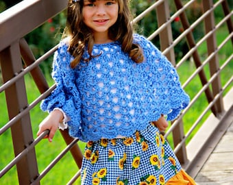 Child poncho - girls crochet poncho - crochet shawl - girls crochet shawl - girls crochet - blue crochet poncho - girls shawl - girls poncho
