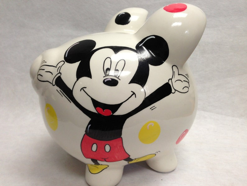 Personalized Piggy Bank Mickey Mouse image 0
