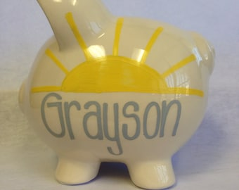 Personalized Piggy Bank You are my Sunshine