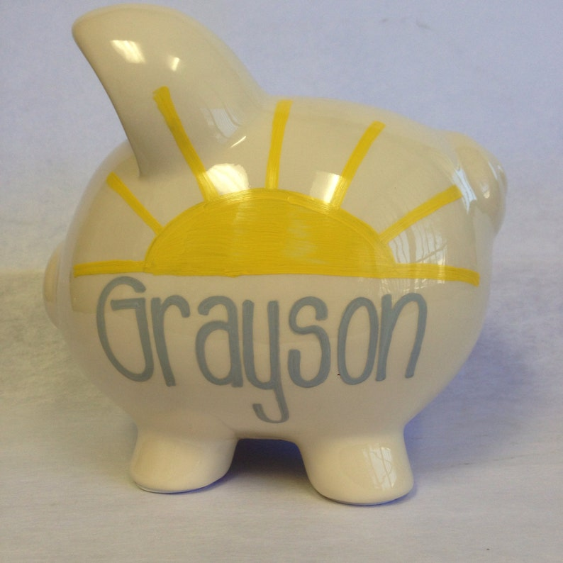 Personalized Piggy Bank You are my Sunshine image 0