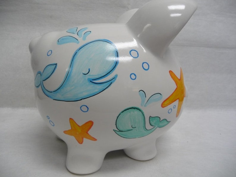 Personalized Piggy Bank Whales and Starfish image 0