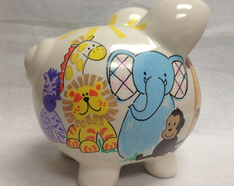 Personalized Piggy Bank Zoo Crew