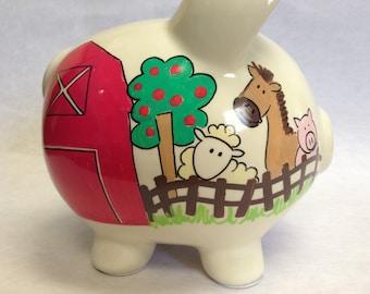 Personalized Piggy Bank Barnyard Farm Friends