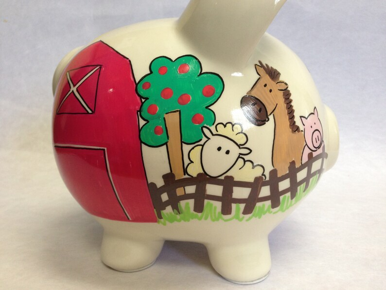 Personalized Piggy Bank Barnyard Farm Friends image 0