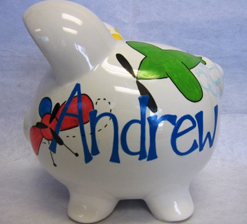 Personalized Piggy Bank Airplanes image 0