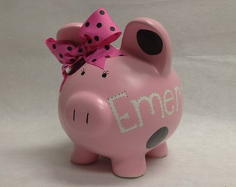 Personalized Piggy Bank Pick your Color Polka Dot