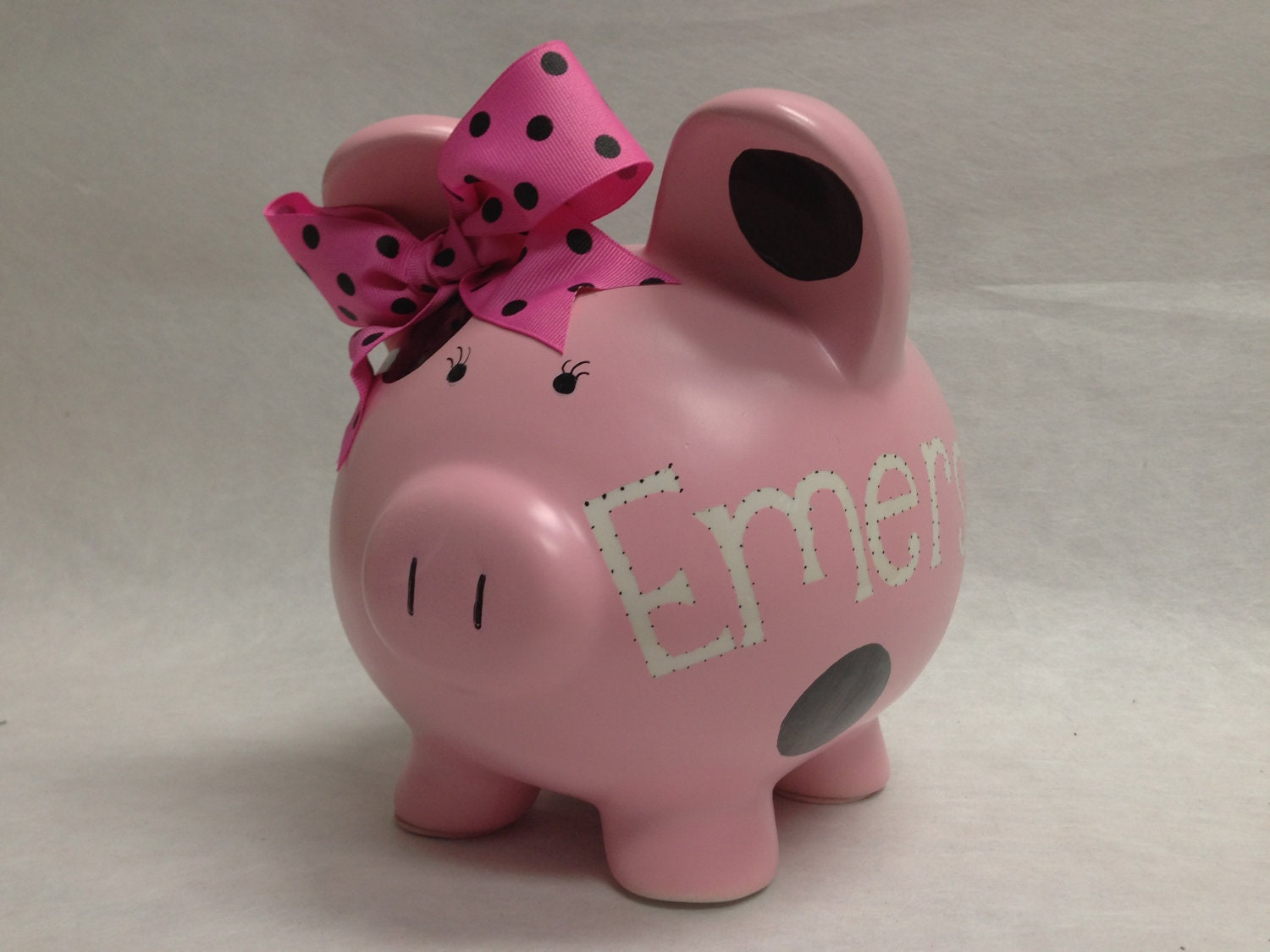 Personalized Piggy Bank Pick Your Color Polka Dot Etsy