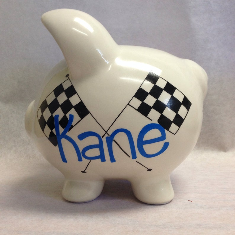 Personalized Piggy Bank Zoom Zoom Racecar image 0