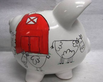 Personalized Piggy Bank Down on the Farm