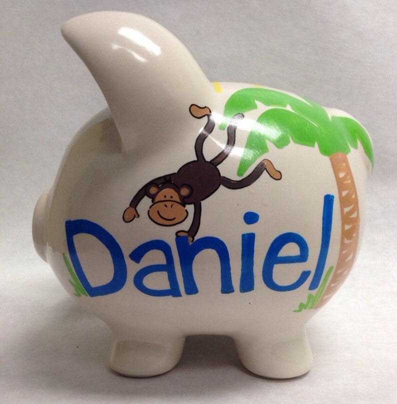 Personalized Piggy Bank Jungle Fun image 0