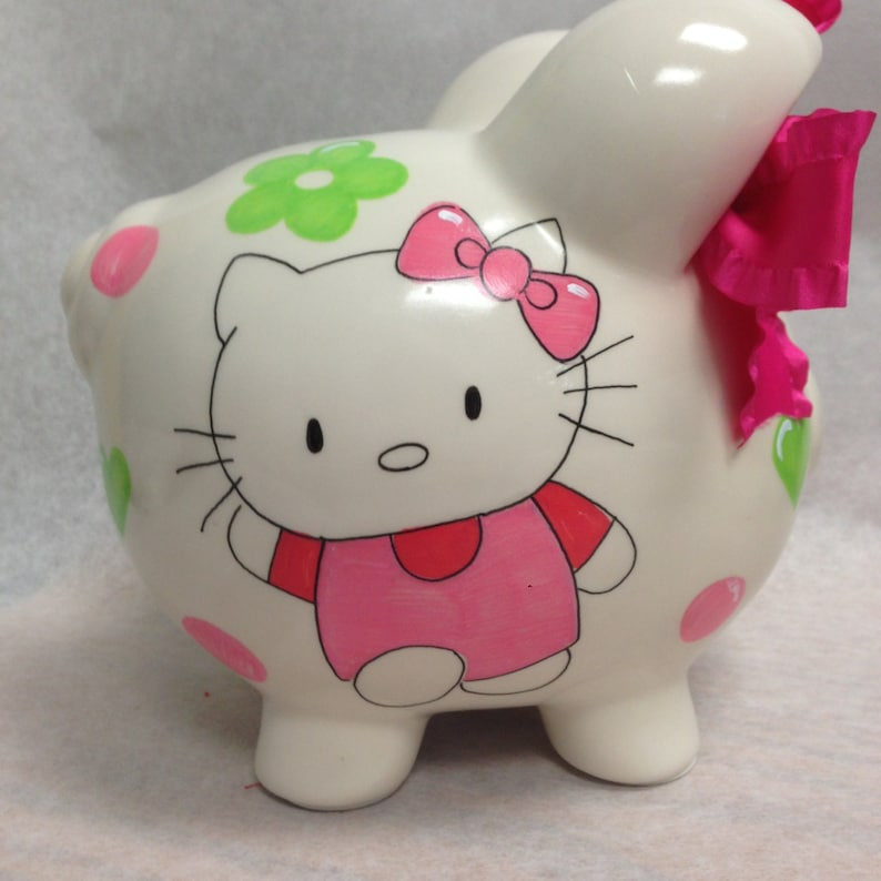 Personalized Piggy Bank Hello Kitty image 0