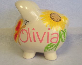 Personalized Piggy Bank sunflower