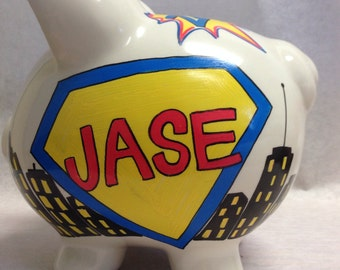 Personalized Piggy Bank vintage Comic Book