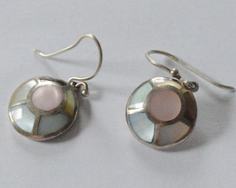 Vintage Sterling Silver Pastel Mother of Pearl Shells Disc Dangle Earrings