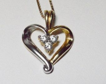 Vintage Sterling Silver and Gold Vermeil CZ Wrapped Heart Pendant Necklace