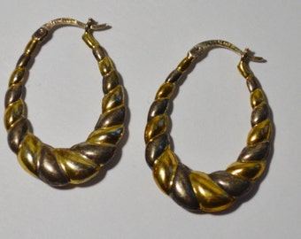 Vintage Sterling Silver And Gold Tone Oblong Hoop Puffy Style Pierced Earrings